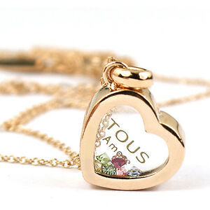 18K-R-Gold-GP-multi-color-Swarovski-Crystal-heart-love-Pendant-Necklace-ia1191