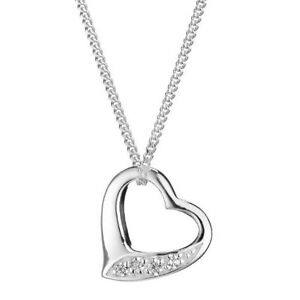 CHILDREN's Sterling SILVER Floating Heart NECKLACE Cubic Zirconia