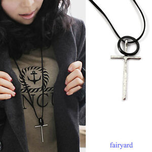 Fashion Retro Silver Cross Necklace Leather Rope Pendant