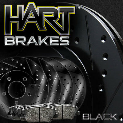 [front+rear Kit] Black Hart Drilled & Slotted Brake Rotors +ceramic Pads C1769