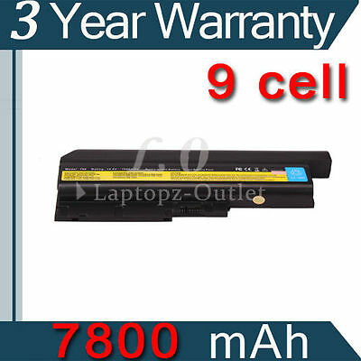 New 7800mAh 9 Cell Laptop Battery for Lenovo IBM Thinkpad T60 T61 R60 40Y6797 on Rummage