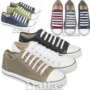 MENS-CANVAS-SHOES-BOYS-CASUAL-LACE-UP-PUMPS-PLIMSOLES-TRAINERS-SHOES-SIZE-6-12