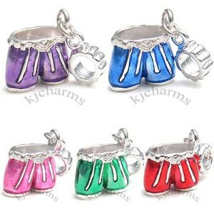 Shorts-Pants-Silver-Dangle-European-Spacer-Charm-Bead-For-Bracelet-Necklace