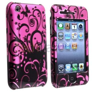 Anti-Scratch-Case-Cover-Purple-Black-Swirl-Rubber-Hard-for-iPhone-3GS-3G