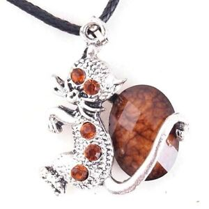 Fashion Vintage Resin Style Cute Cat Crystal Charms Necklace