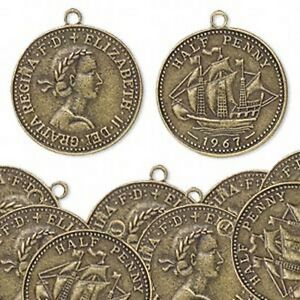 10-Charms-Wholesale-Lot-Steampunk-Antiqued-Brass-1-Elizabeth-Half-Penny-Coin