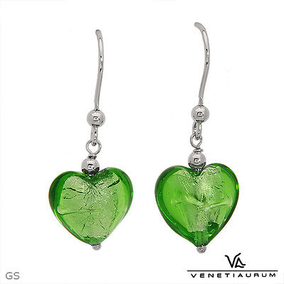 Venetiaurum Made In Italy Earrings In 925 Green Murano Glass And 925 S. Silver