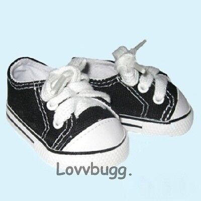 "Lovvbugg Black Tennis Sneakers  White Topstitching for 18"" American Girl or Boy or Bitty Baby Doll Shoes"