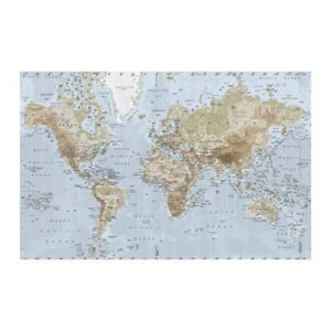 premiar world map canvas print by ikea globe wall hang large discontinued ebay. Black Bedroom Furniture Sets. Home Design Ideas