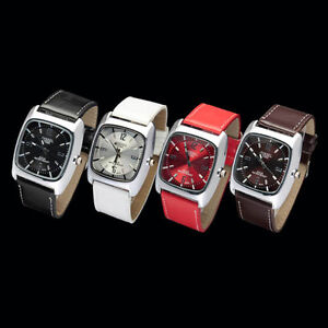 Fashion-Square-Case-Mens-Lady-Quartz-Stainless-Steel-Wrist-Watch-Luxury