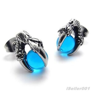 Blue-Silver-Tone-Stainless-Steel-Dragon-claw-Mens-Studs-Earrings-US520472