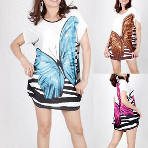 4-Color-Women-Butterfly-Print-loose-T-Shirts-Blouse-Tops-E182-Sizes-S-M-L