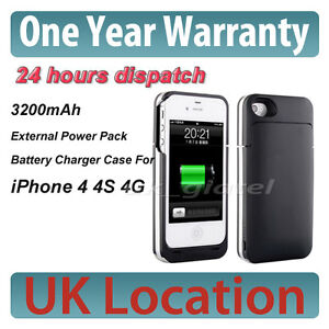 3200mAh Portable External Power Pack Backup Battery Charger Case For iPhone 4 4S