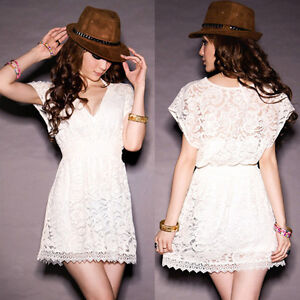Womens-Stylish-Deep-V-neck-Lace-Tunic-Mini-Dress