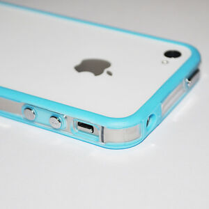 Blue-Clear-Bumper-Case-Cover-with-Metal-Buttons-For-Apple-iPhone-4-S-4G-4S