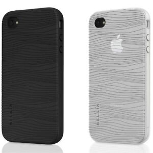 iPhone 4s & 4 Silicone Black & Clear Belkin Grip Groove 2 pack Cases NEW