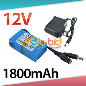 Portable 12V Li-po Super Rechargeable Battery Pack DC for CCTV Camera 1800mAh