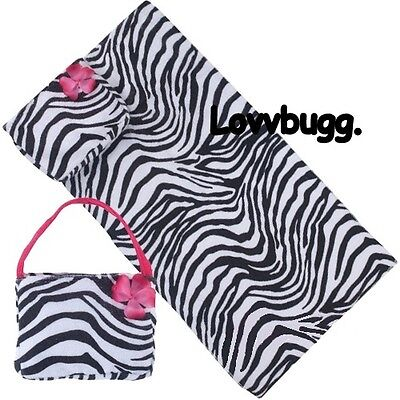 "Lovvbugg Zebra Towel Bag Swim Clothes for 18"" American Girl Doll Accessory"