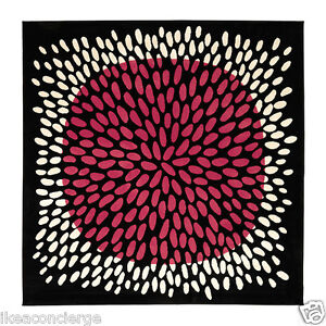 Ikea tradklover 6 39 7 square area rug carpet black pink white for Ikea pink rug