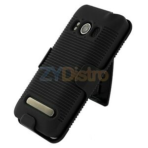 Black-Slide-Case-With-Belt-Clip-Swivel-Holster-Stand-for-HTC-Sprint-EVO-4G