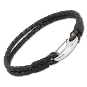 Mens-Double-Plaited-Black-Leather-and-Steel-Carabiner-Clasp-Bracelet