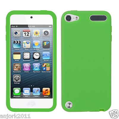 Apple Ipod Touch 5 Soft Silicone Skin Rubber Gel Cover Case Accessory Dr Green