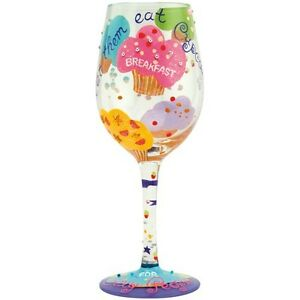 Lolita Love My Wine CUPCAKE Hand Painted Multi-Color Wine Glass