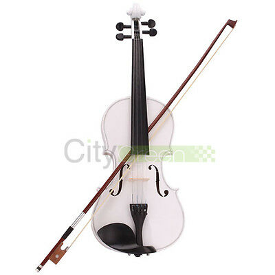 Acoustic Violin 4/4 Full Size White with Case Bow Rosin on Rummage
