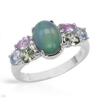 RING W/  PRECIOUS STONES - GENUINE OPAL & SAPPHIRES SET IN