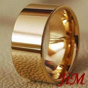 Mens-Tungsten-Ring-14K-Gold-Wedding-Band-Pipe-Cut-Hot-Bridal-Jewelry-Size-6-15