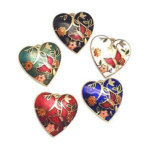 Pack of 10 Cloisonne Heart Pendant / Findings J1409
