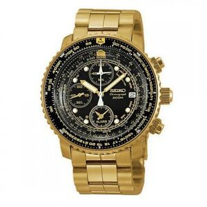 Brand New Seiko Gold Tone Flight Alarm Chronograph 200m Men's Watch SNA414P1