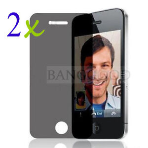 2x Privacy Anti-Spy Screen Guard Protector Shield Film For Apple iPhone 4 4S 4G