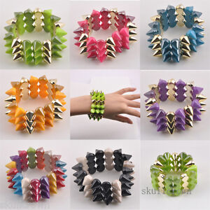 FREE-SHIP-Europe-3-Layers-Spike-Hedgehog-Rivets-Stretch-Punk-Style-Bracelet-N962