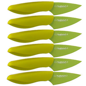 Set-of-6-Kershaw-Kai-Pure-Komachi-2-Paring-Knife-w-Sheath-Green-Md-AB5068