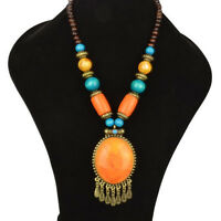 Tassel Carved Bohemia Vintage Retro Copper Chunky Necklace