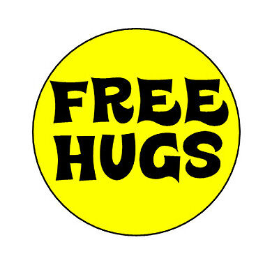 FREE HUGS pin button badge peace love retro hippy funny