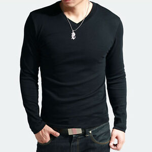 New-Mens-Slim-Fit-Cotton-V-Neck-Long-Sleeve-Casual-T-Shirt-IN-XS-S-M-L-Size-4col