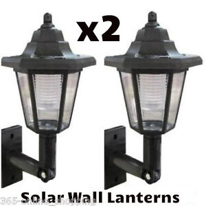 X2 LED SOLAR POWER WALL LANTERN LAMP SUN LIGHTS BLACK OUTDOOR MOUNT GARDEN