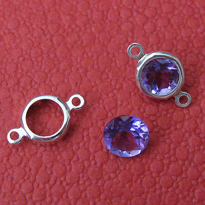 10 Solid Sterling Silver Bezel Setting W/ 2 Rings 5mm Easy To Use Back Setting