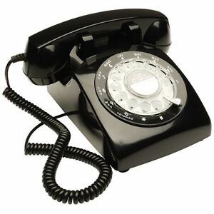 Retro Desk Phone with Working Rotary Dial - Black Old Fashioned 1970s Telephone