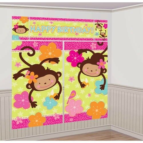Monkey Love Giant Scene Setter Wall Decorating Kit Birthday Party Supplies