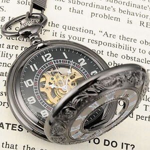 Mens Brass Steampunk Skeleton Chain Pocket Watch Gift