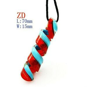 Fabulous Simple Cylinder Murano Lampwork Glass Pendant Necklace
