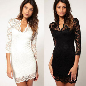 Vintage-Lace-Scalloped-Neck-Floral-Mini-Dress-Knitted-3-4-Sleeve-Cocktail-Party