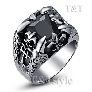 High-Quality-T-T-316L-Stainless-Steel-Ring-Claw-With-Black-CZ-Size-8-RZ37