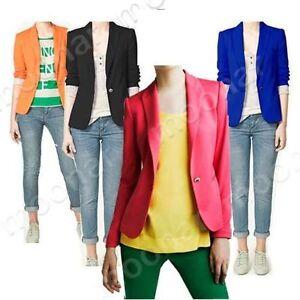 Formal-Suit-Blazer-OL-Lady-Women-One-Botton-Long-Sleeve-Tunic-Coat-Jacket-Career