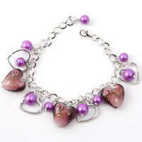 Adjustable Lampwork Glass&Crystal Beads Pendant Charms Bracelet