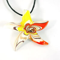 Murano Glass Gold-sand Starfish Pendant Necklace