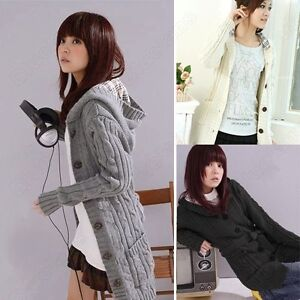 Female-WomenS-Hooded-Winter-Cardigan-Sweater-Hoodie-Coat-Grey-Black-Beige